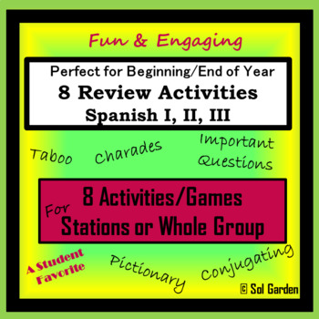 Spanish Beginning/End of Year Review - Stations or Activities