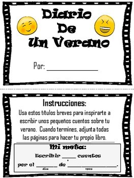 Spanish End of Year Summer Writing Assignment - Creative Prompt Book