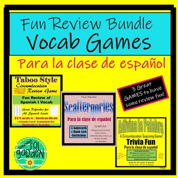 Spanish End of Year - Vocab Review Game Mini Bundle