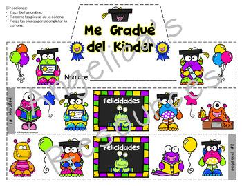 Spanish End of the Year Activities : Kindergarten Graduation Crowns & Wristbands