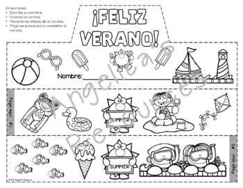 Spanish End of the Year Activities : Spanish Crowns and Wristbands -Feliz Verano