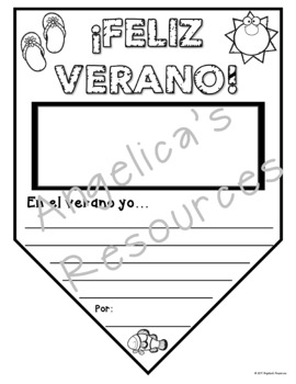 Spanish End of the Year Activities: Spanish Summer Pennant - Feliz Verano