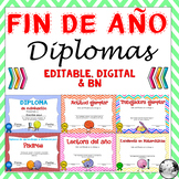 Spanish End of the Year Awards Editable  for Distance Learning - Google Slides