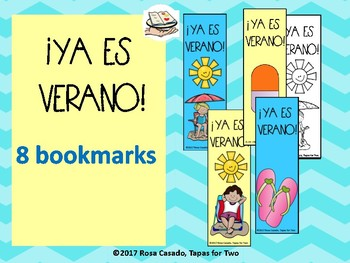 Spanish End of the year bookmarks