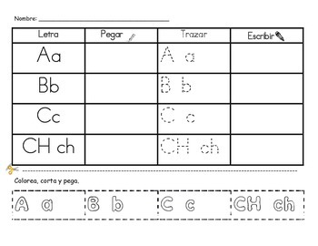 Spanish English Alphabet practice packet