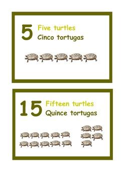 Spanish/ English Bilingual Animal Number line.