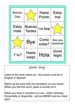 Spanish / English Bingo (Greetings)