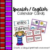 Spanish English Calendar Labels