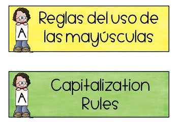 Spanish & English Capitalization Rules Posters & Task Cards
