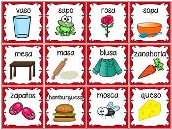 Spanish-English Card Games - Words with S