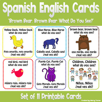 "Spanish English Cards ""Brown Bear, Brown Bear What Do You See?"""