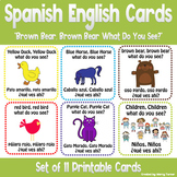 """Spanish English Cards """"Brown Bear, Brown Bear What Do You See?"""""""