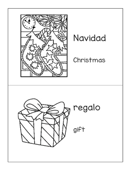 spanish english christmas vocabulary coloring mini book