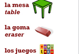 Spanish-English Classroom Labels - 46 Classroom Items, Gre