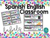 Spanish English Classroom Labels CONFETTI