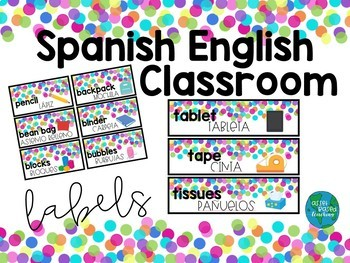Spanish English Classroom Labels CONFETTI