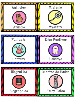 Spanish-English Classroom Library Labels (Genres)