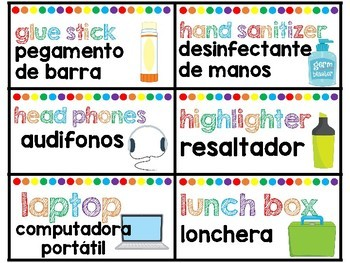 Spanish English Classroom labels RAINBOW