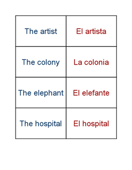 Spanish English Cognates Activity