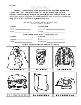 Cognados Worksheets & Teaching Resources | Teachers Pay Teachers