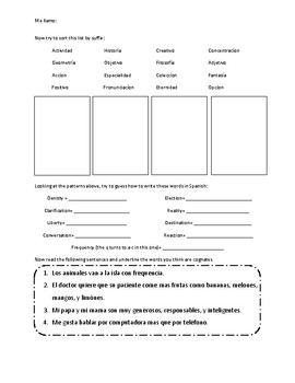 Spanish-English Cognates Cognados Introductory Worksheet