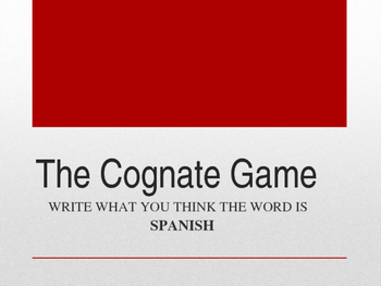 Spanish/English Cognates Powerpoint Activity