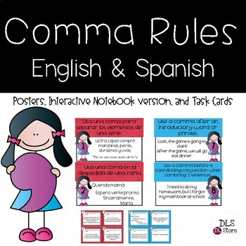 Spanish & English Comma Rules Posters & Task Cards