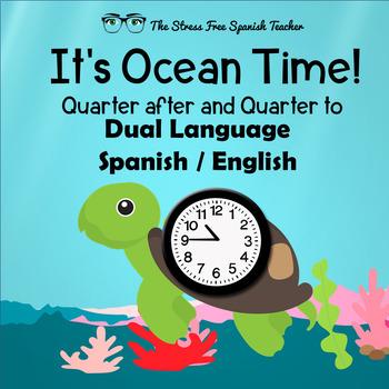 Dual Language Write The Room Quarter to and Quarter After Time Cards