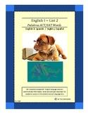 Spanish-English ~ English I List 2 ~ ACT/SAT Words
