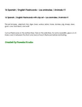 Spanish English Flashcards - Los animales / Animals #1