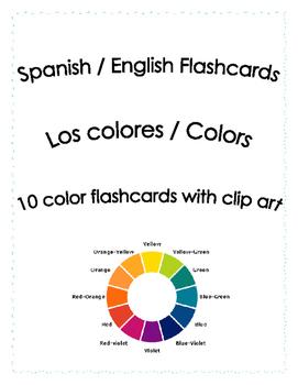 Spanish English Flashcards - Los colores / Colors Gratis!