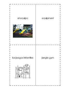 Spanish English Flashcards - El campo de recreo / The playground
