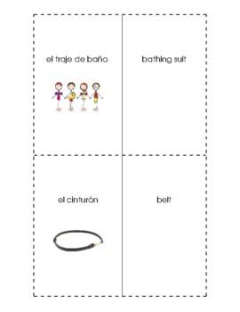 Spanish English Flashcards - La ropa / Clothing