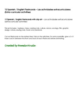 Spanish English Flashcards - Las actividades extracurriculares