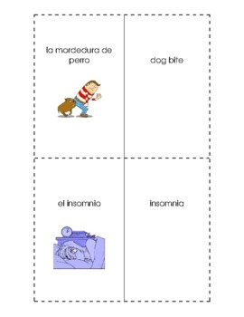 Spanish English Flashcards - Las enfermedades # 2 / Illnesses # 2