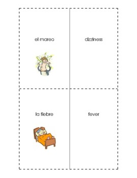 Spanish English Flashcards - Las enfermedades #1/ Illnesses #1