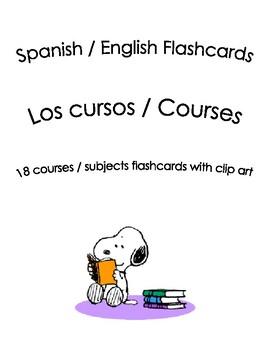 Spanish English Flashcards - Los cursos / Courses