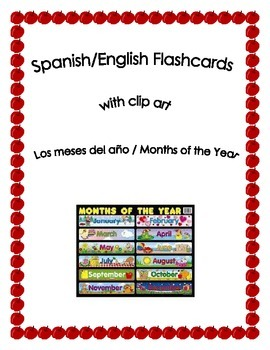 Spanish English Flashcards - Months of the Year Gratis!