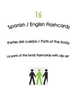 Spanish English Flashcards - Las partes del cuerpo / Parts of the body