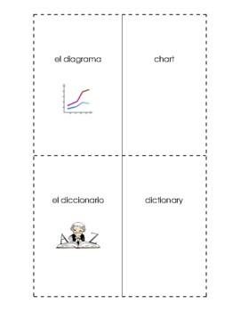 Spanish English Flashcards Las Cosas en la clase / Things in the classroom