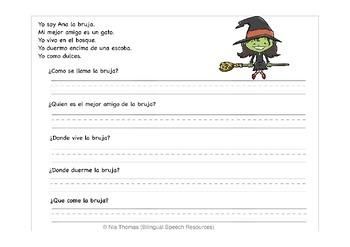 Spanish/English Halloween Speech Therapy Worksheets