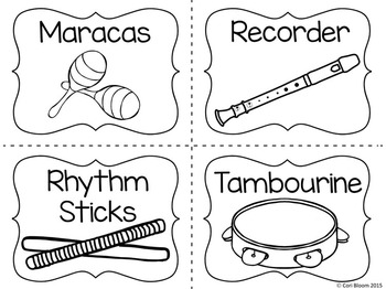 Spanish & English Instrument Cards, Orff Instruments Included