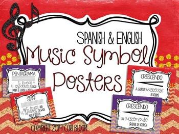 Spanish & English Music Symbol Posters