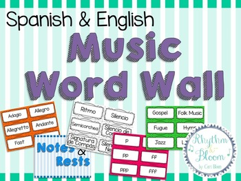 Spanish & English Music Word Wall, UK terms included