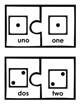 Spanish-English Number Match-up Puzzles