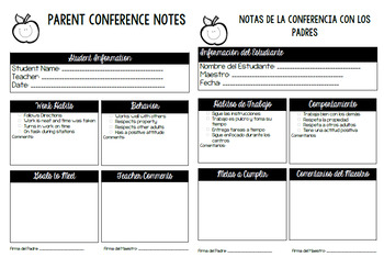 Spanish/English Parent Conference Notes