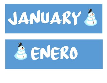 Spanish/English Pocket Chart Calendar Set