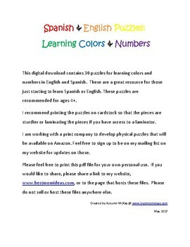 Spanish & English Puzzles: Learning Colors & Numbers