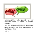 Spanish English Report Card Comments for Classroom Teachers