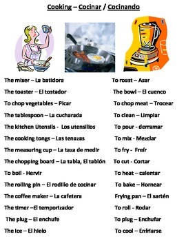 Spanish / English Thematic Vocabulary Lists - Vocabulario en Temas